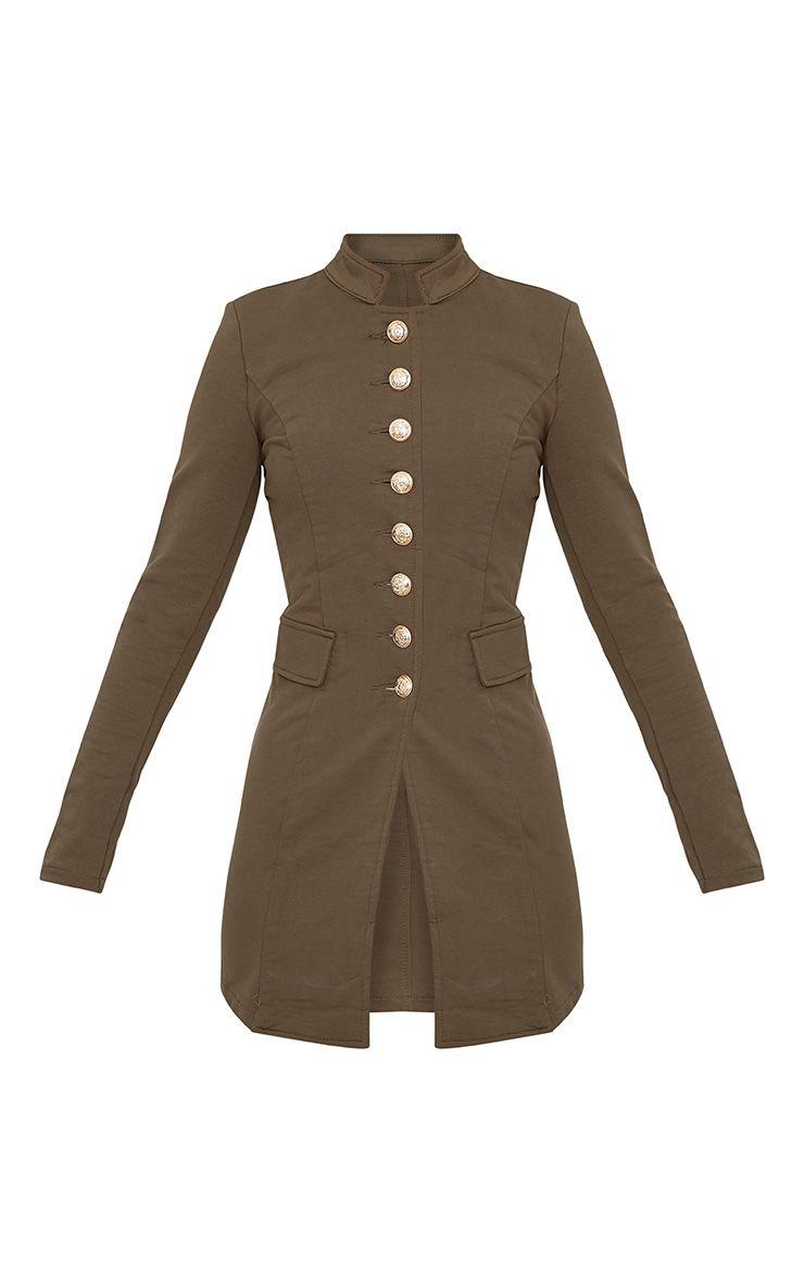 Deleana Khaki Longline Military Style Jacket Coats