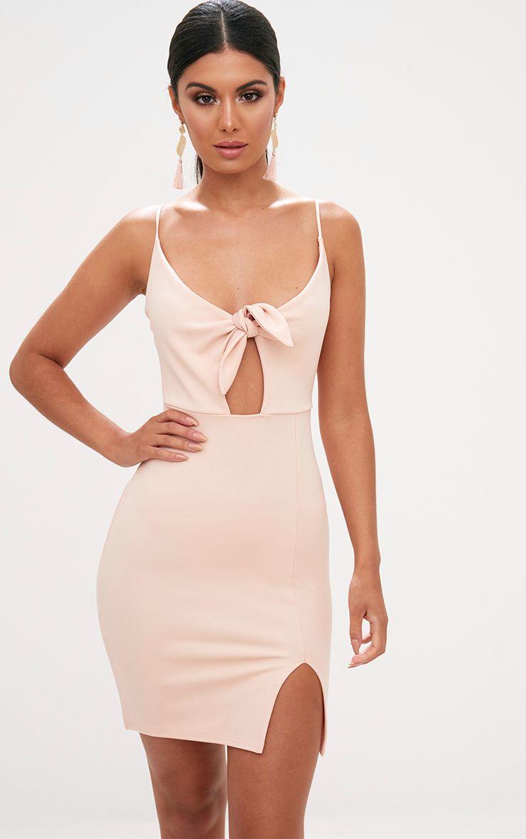 Nude Tie Front Bodycon Dress