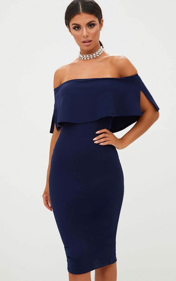 Navy Bardot Frill Midi Dress
