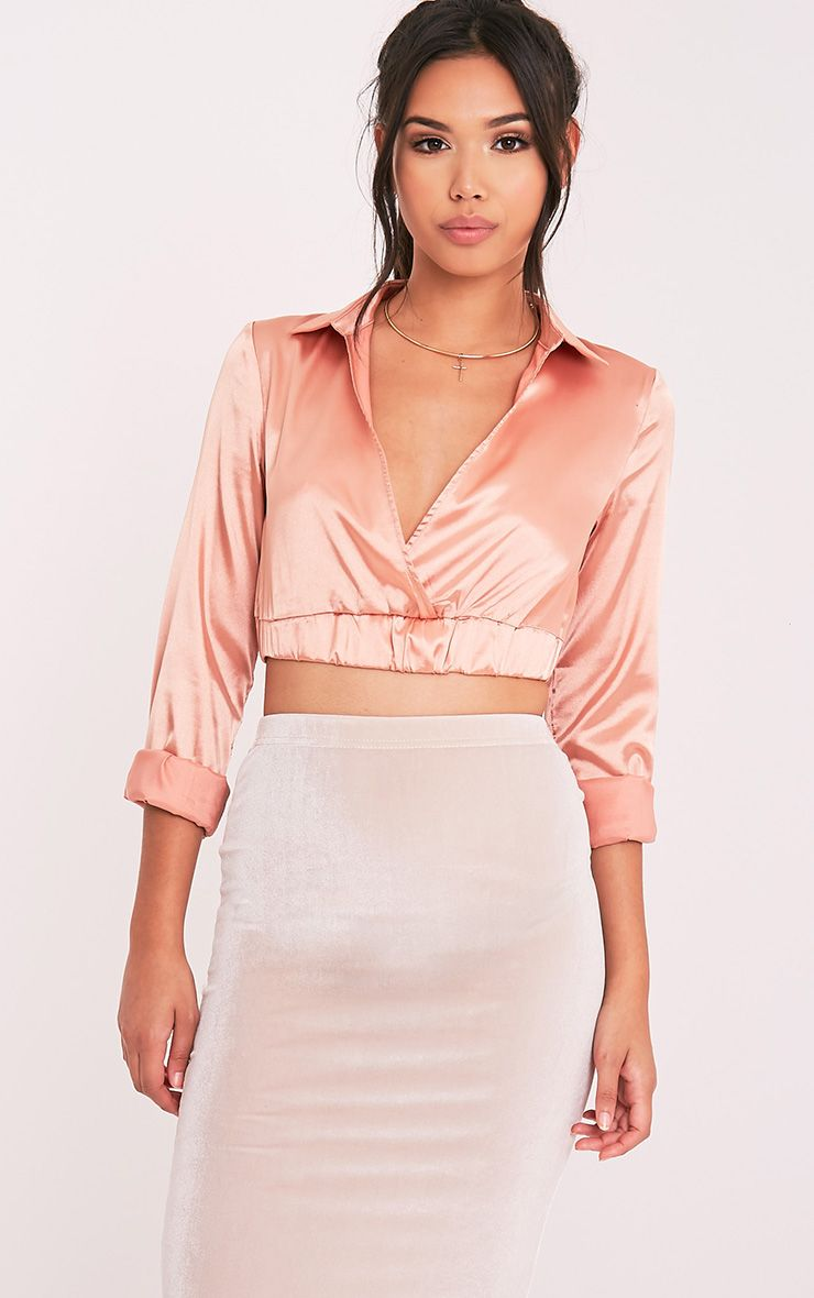 Lauretta Champagne Satin Cropped Longsleeve Top 1