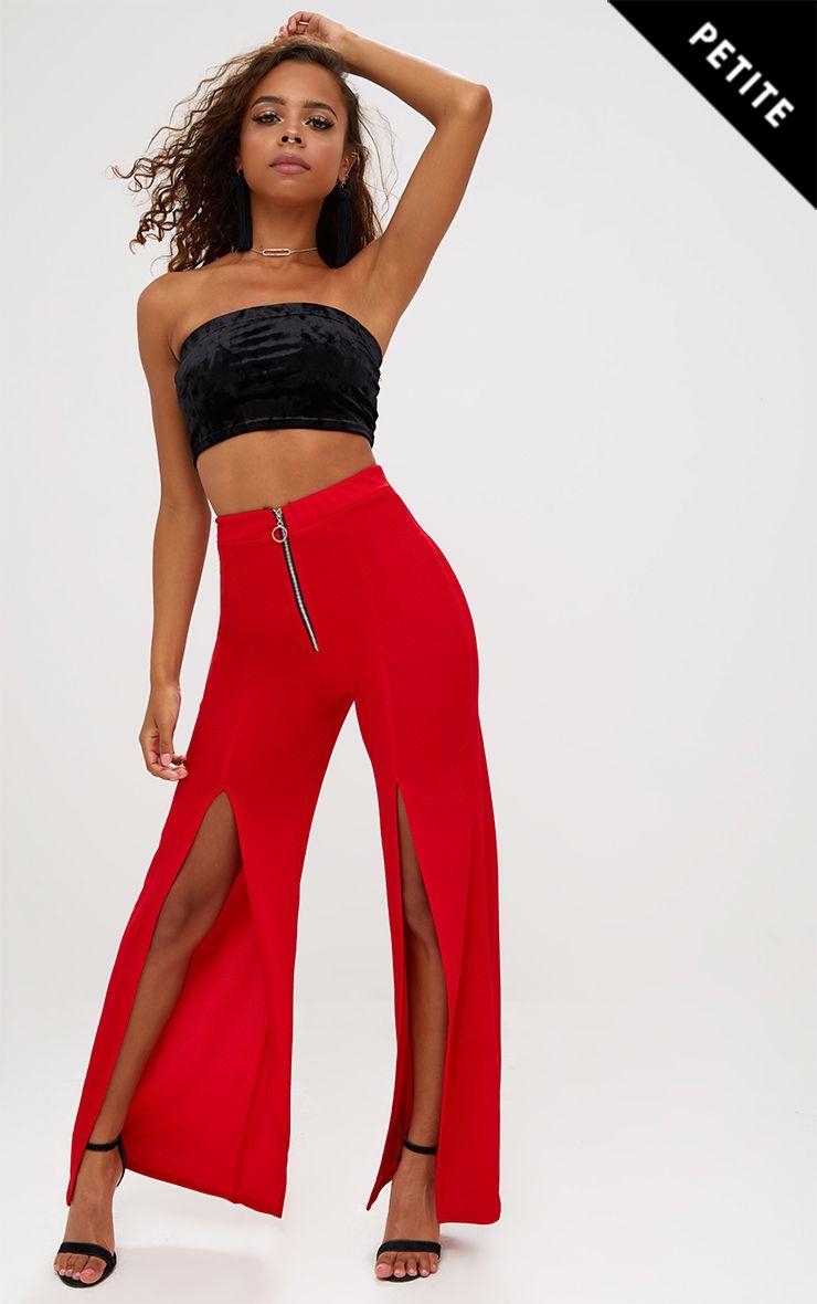 Petite Red Split Leg Zip Trousers