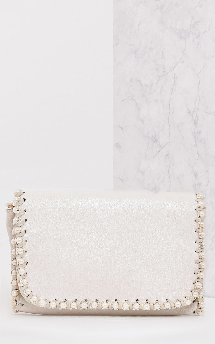 Seiena Cream Pearl Trim Clutch  1
