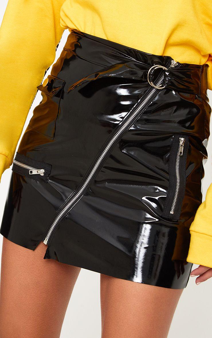 Black Vinyl Biker Mini Skirt Skirts Prettylittlething