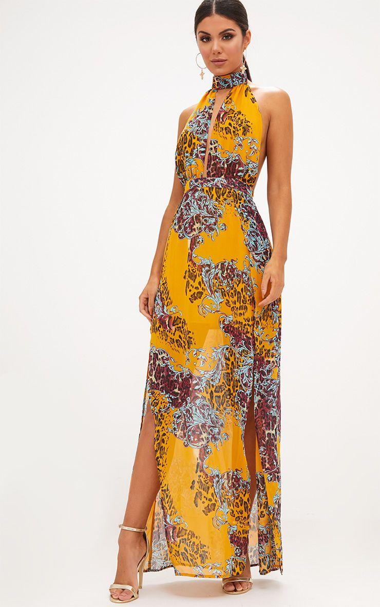 Mustard Animal Print Maxi Dress