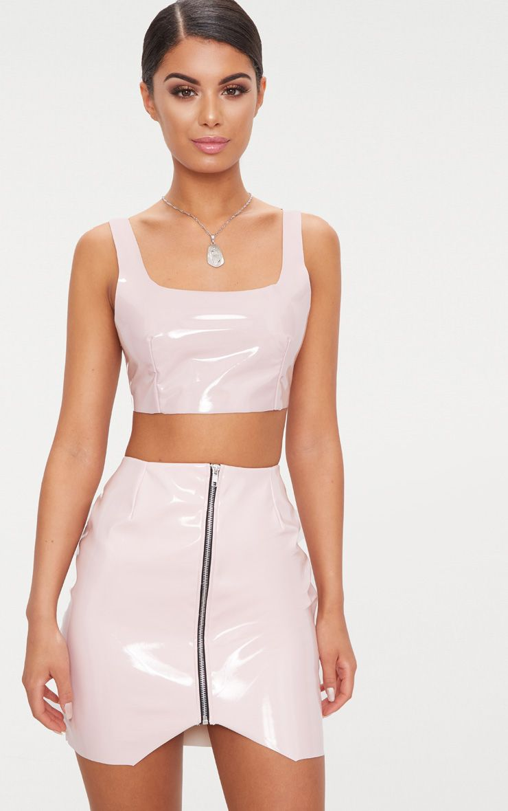 Pale Pink Zip Front Vinyl Mini Skirt