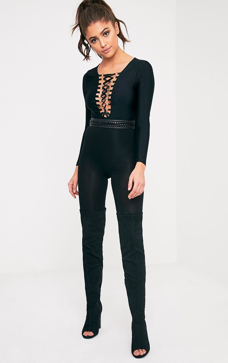 Enya Black Lace Up Front Bodysuit
