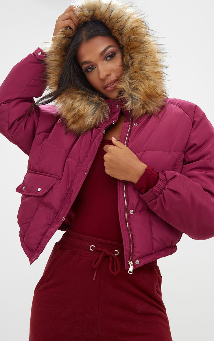 Berry Cropped Puffer Jacket with Faux Fur Hood