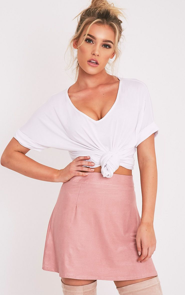 Rose Dusty Pink Faux Suede A-Line Mini Skirt