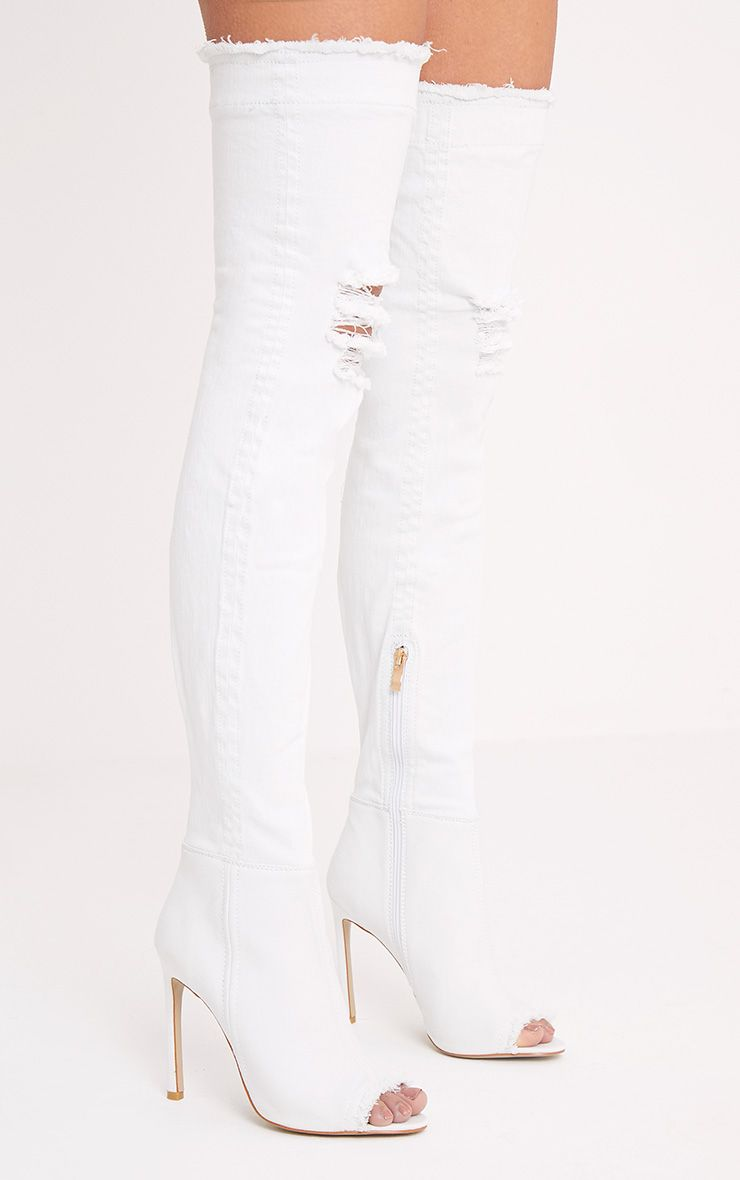 Kaylia White Distressed Denim Thigh Boots