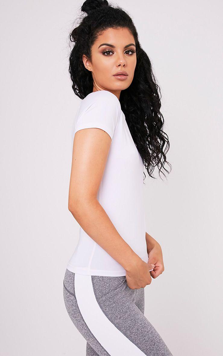 Tia White Short Sleeve Gym T-Shirt 4