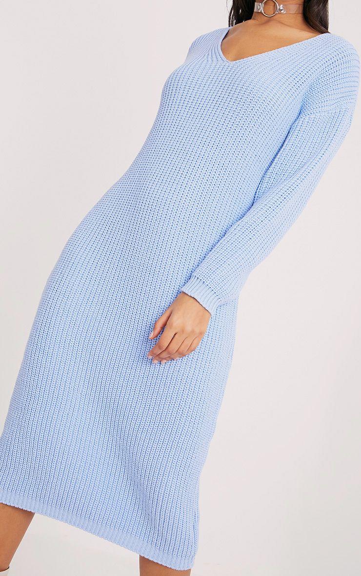 Breeze robe pull surdimensionnée bleue à col en V 5