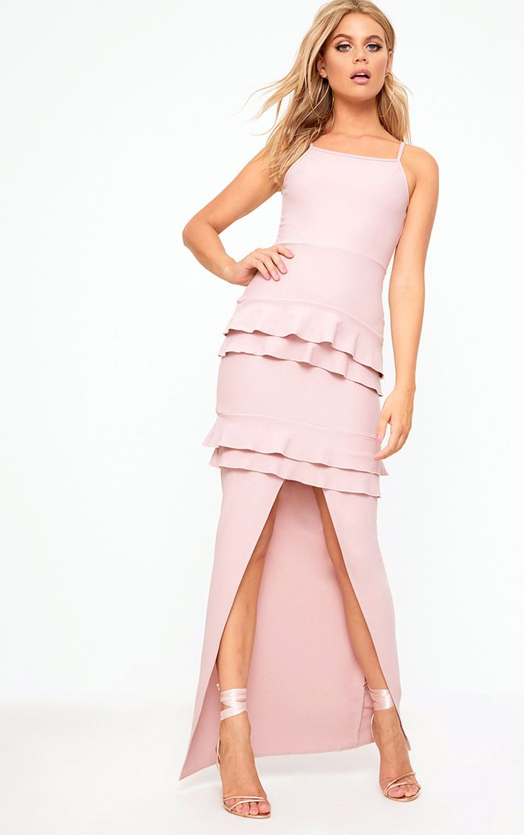 Dusty Pink Ruffle Detail Maxi Dress