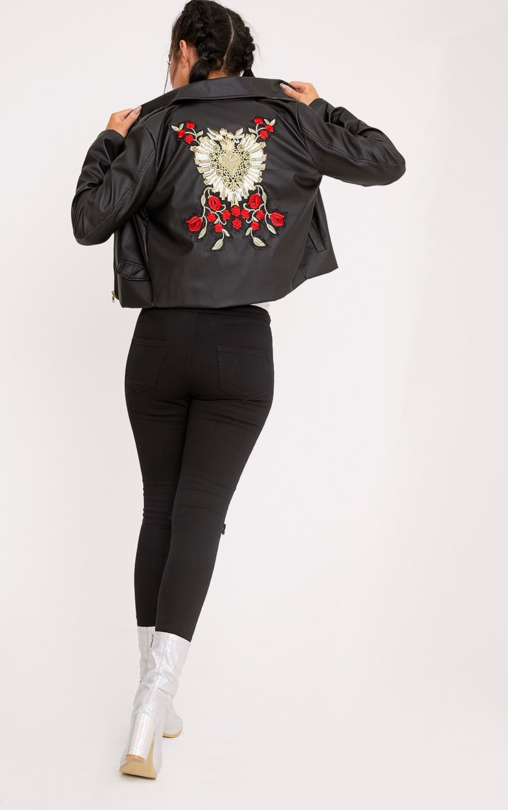 Sallie Black PU Applique Detail Biker Jacket