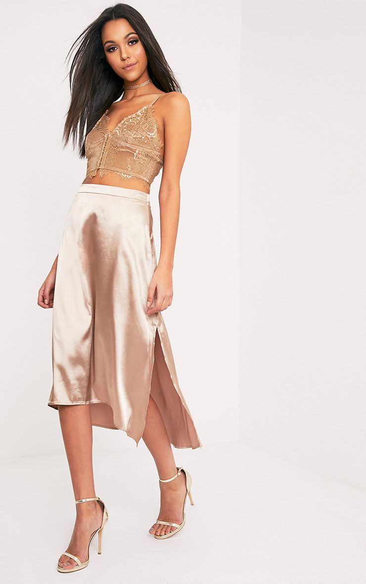 Ennia Champagne Satin Side Split Floaty Midi Skirt