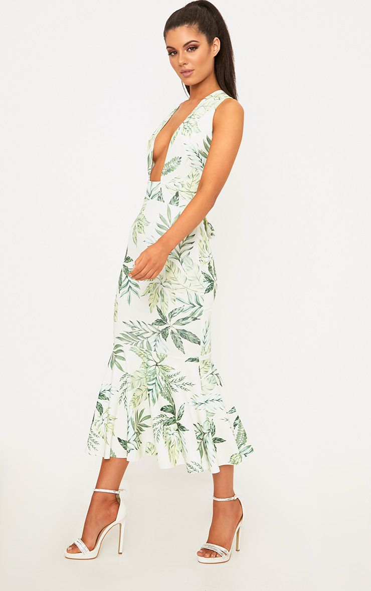 Green Palm Print Plunge Fishtail Midi Dress