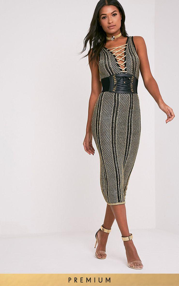 Avanya Black Premium Metallic Knitted Midi Dress