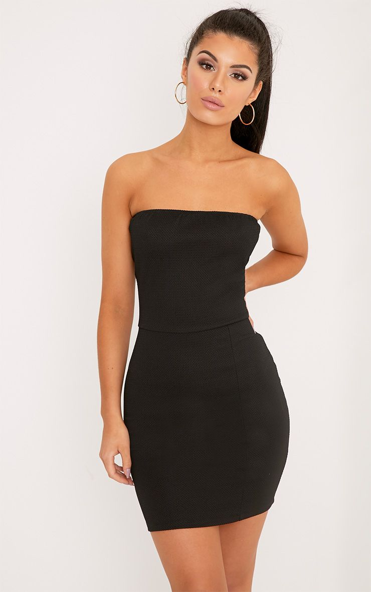 Loriella Black Textured Bandeau Bodycon Dress