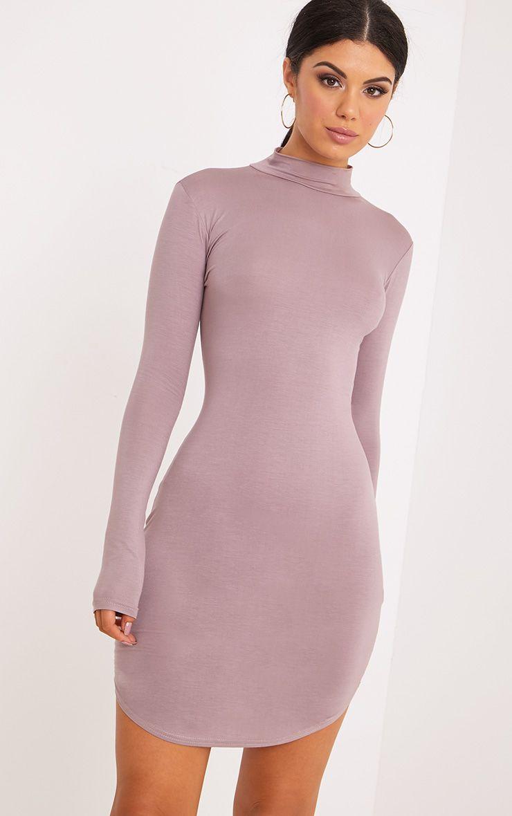 Alby Truffle Curve Hem High Neck Dress