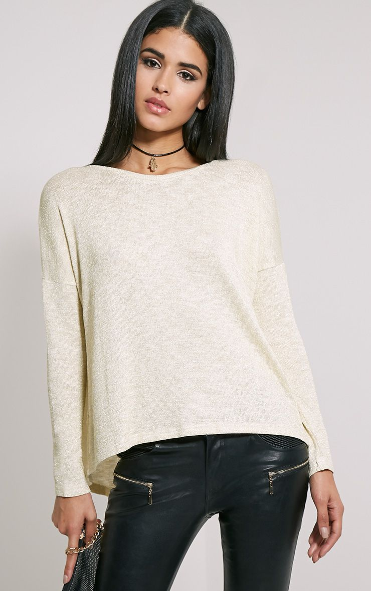 Sofia Beige Wrap Back Metallic Knit Top 1