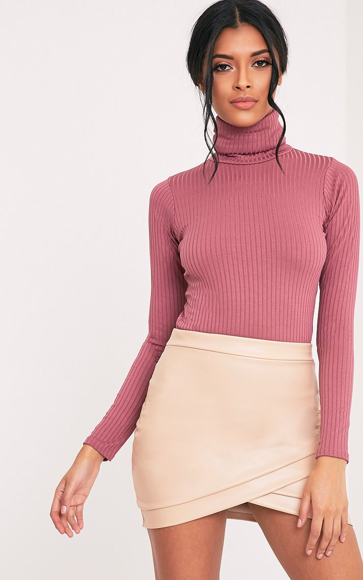 Rheta Rose Ribbed Polo Neck Top