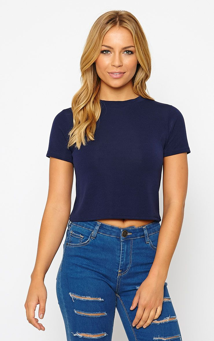Basic Navy Short Sleeve Crop Top 1