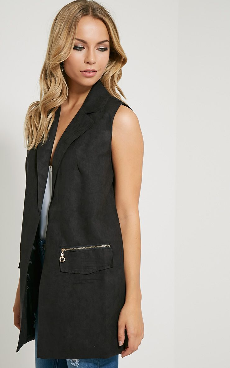 Veera Black Sleeveless Faux Suede Jacket 1