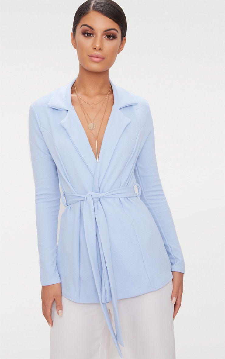 Baby Blue Belted Blazer