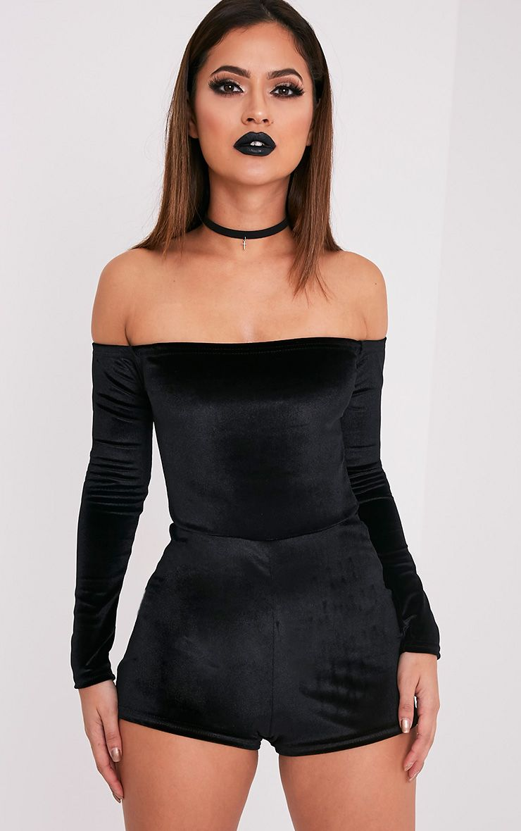 Elsea Black Velvet Bardot Playsuit