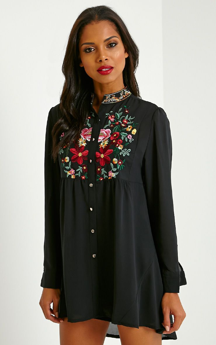 Exie Black Embroidered Sheer Shirt Dress