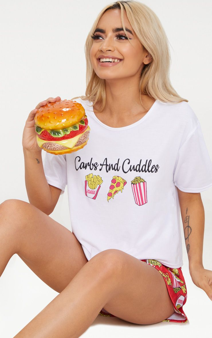 Red Carbs And Cuddles Short PJ Set