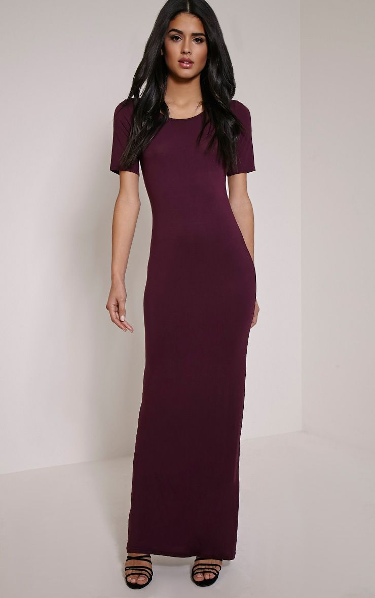Basic Berry Round Neck Maxi Dress 1