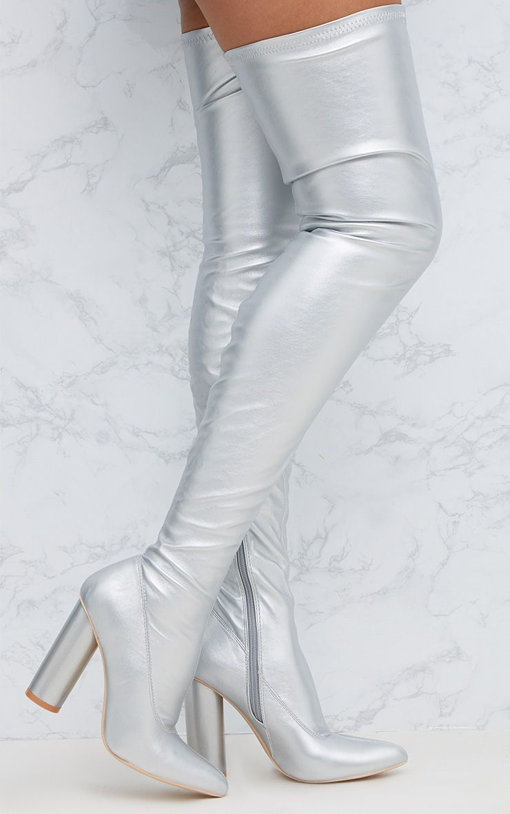 Silver PU Thigh Boot