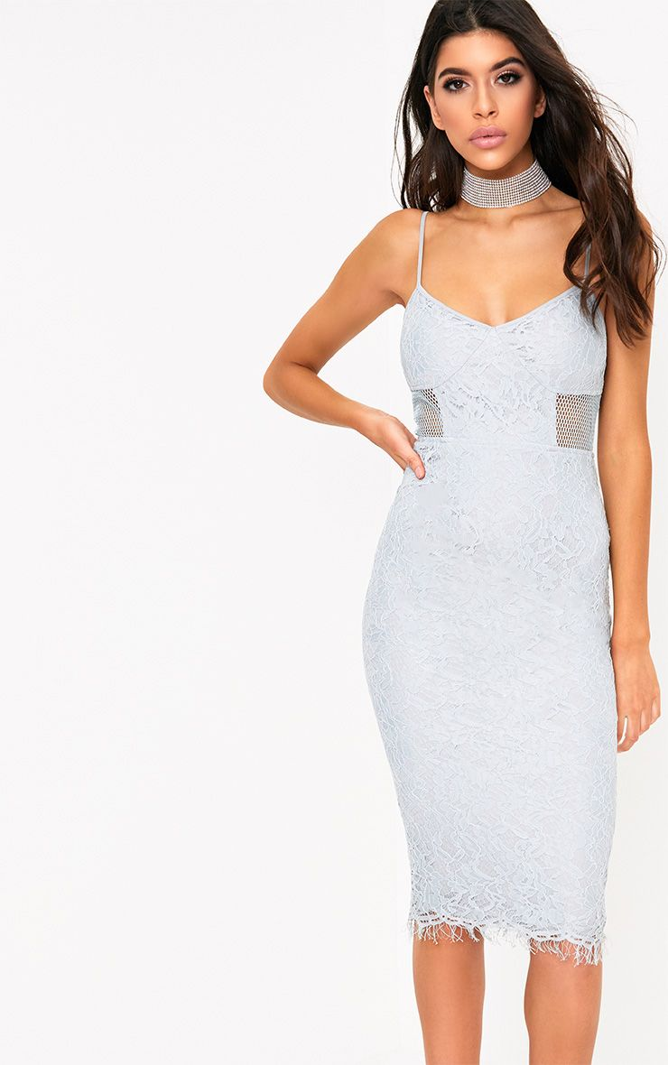 Beatrice Dusty Blue Lace Fishnet Panel Midi Dress