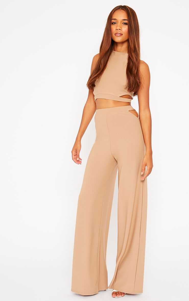 Elphina Camel Cut Out Palazzo Trousers 1