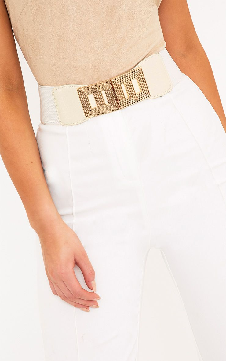 Paola White Square Geo Buckle Waist Belt