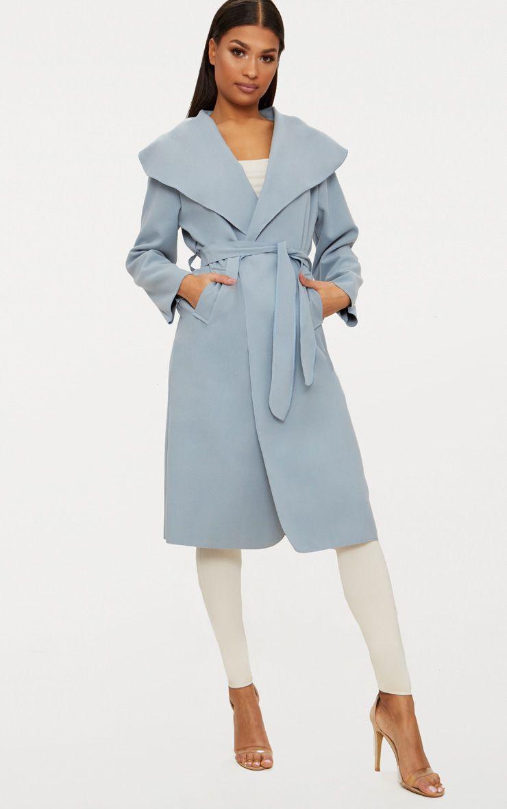 Veronica Powder Blue Oversized Waterfall Belt Coat 1