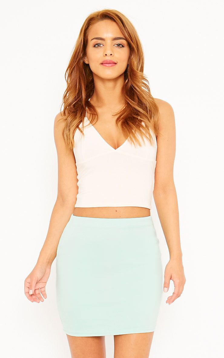 Basic Mint Scuba Mini Skirt 1
