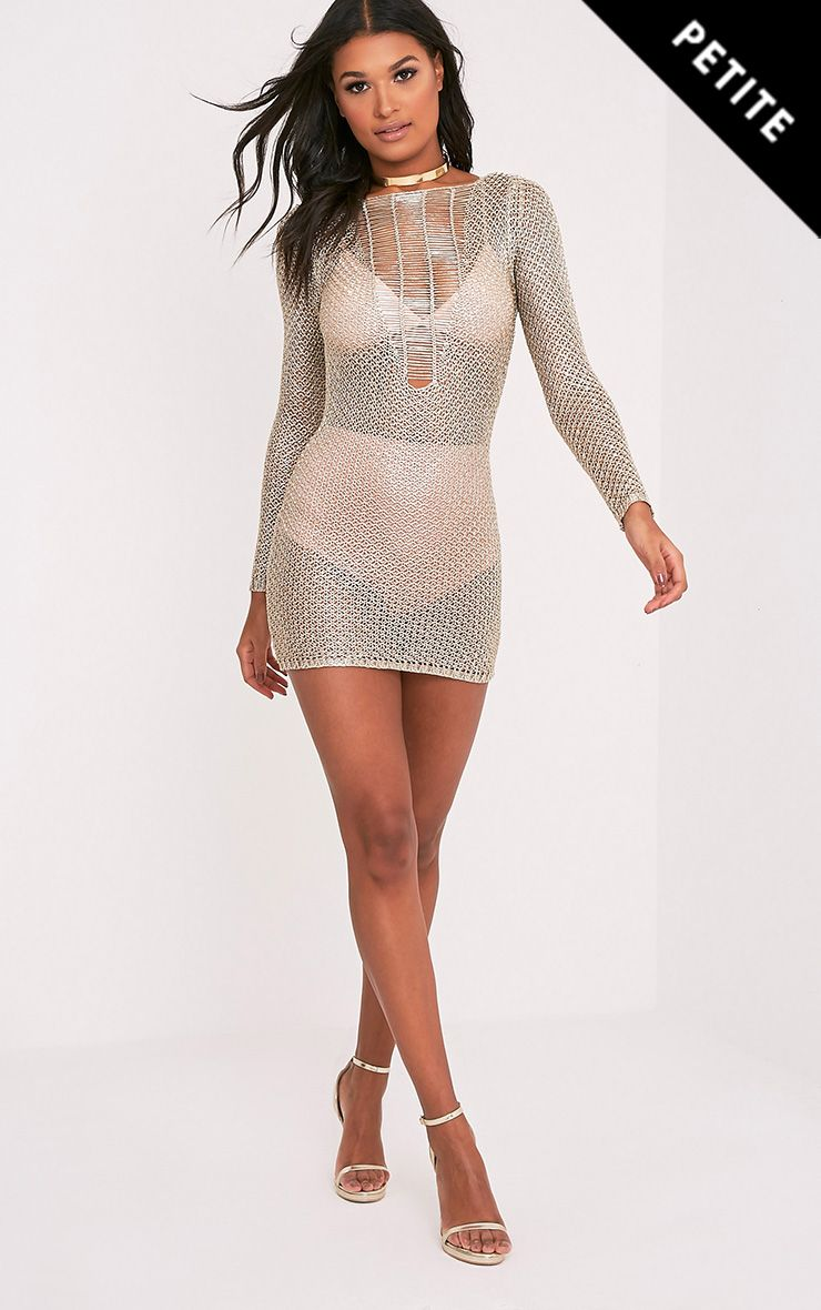 Kay Petite Gold Metallic Knitted Mini Dress