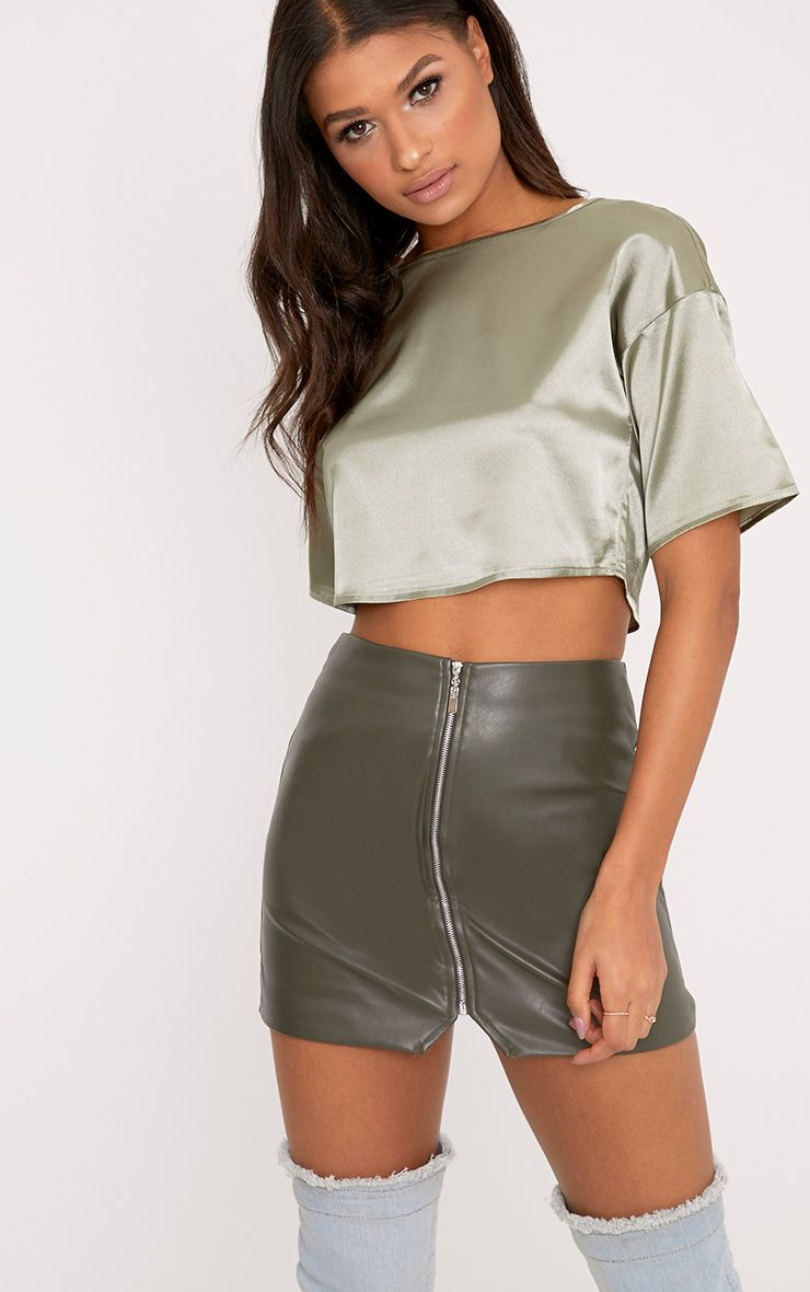 Isla Sage Green Satin Crop T-Shirt