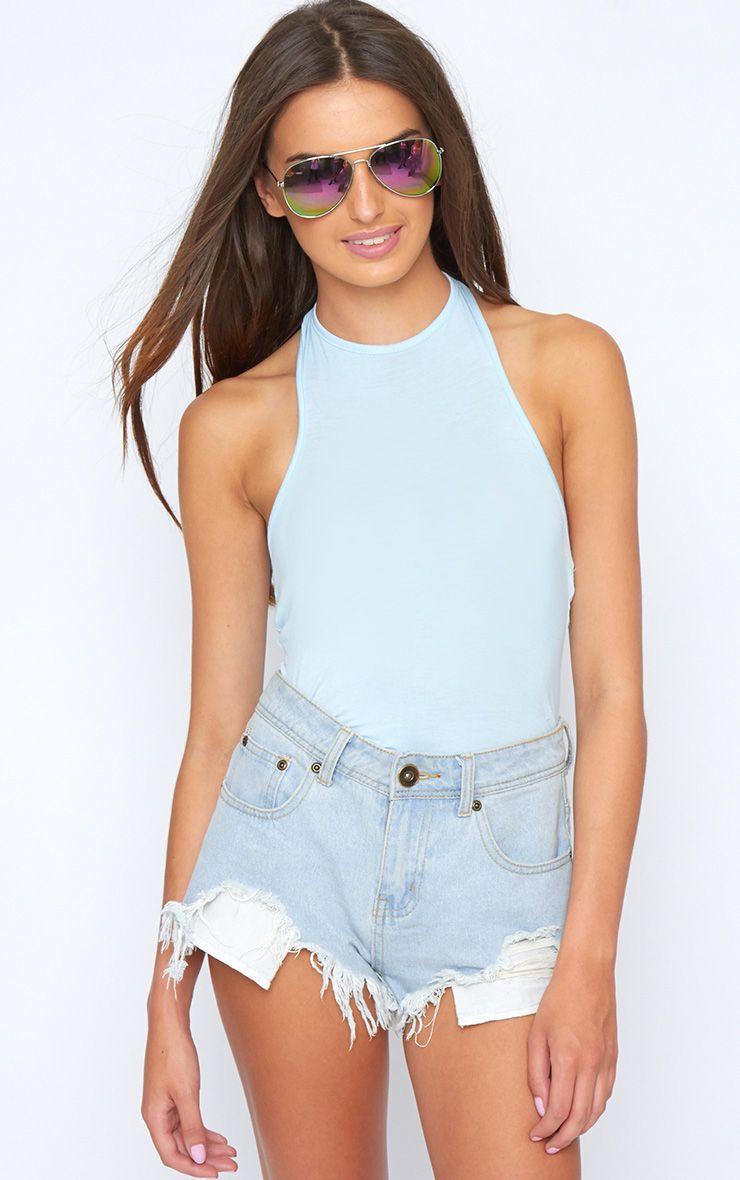 Sara Blue Halterneck Bodysuit 1