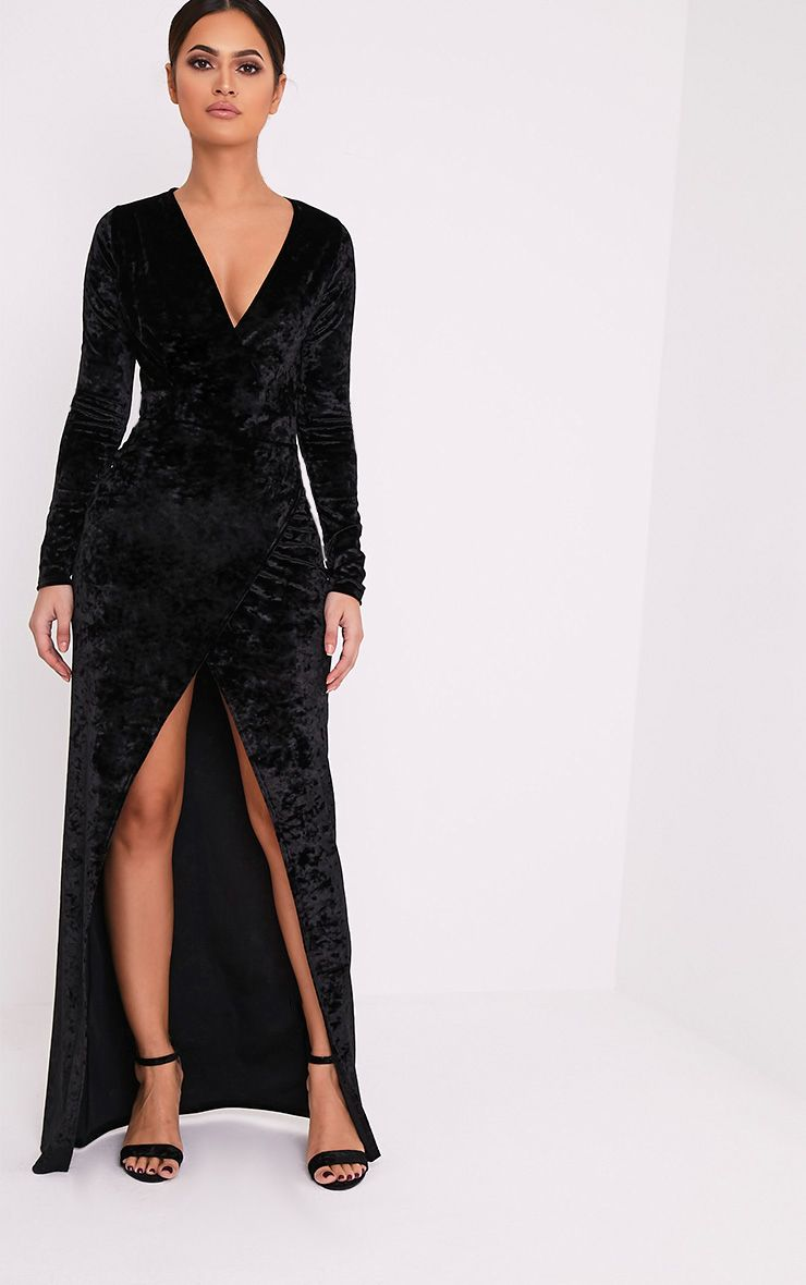 Luisah Black Crushed Velvet Wrap Maxi Dress