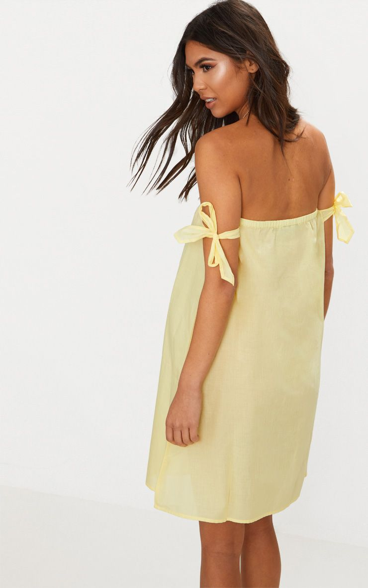 Lemon Bardot Tie Detail Smock Dress Pretty Little Thing aY71I4