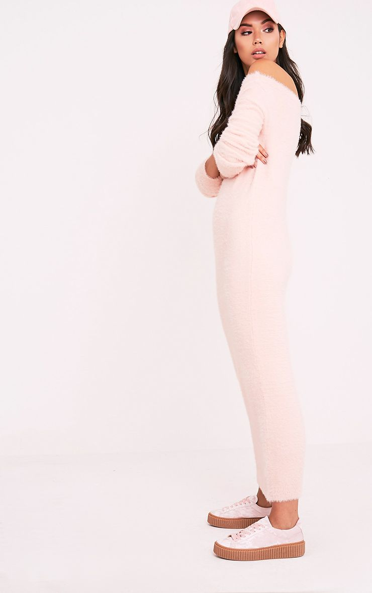 Idelle Nude Fluffy Knit Maxi Dress 4