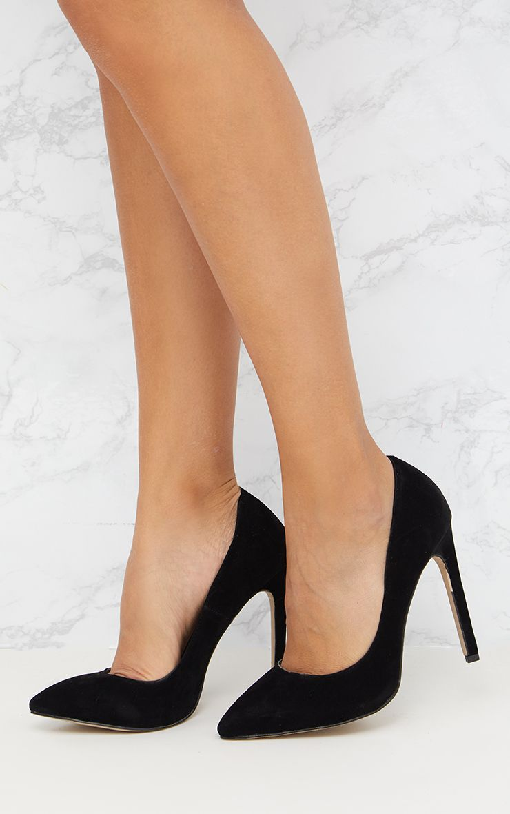 Black Faux Suede Pointed Heels