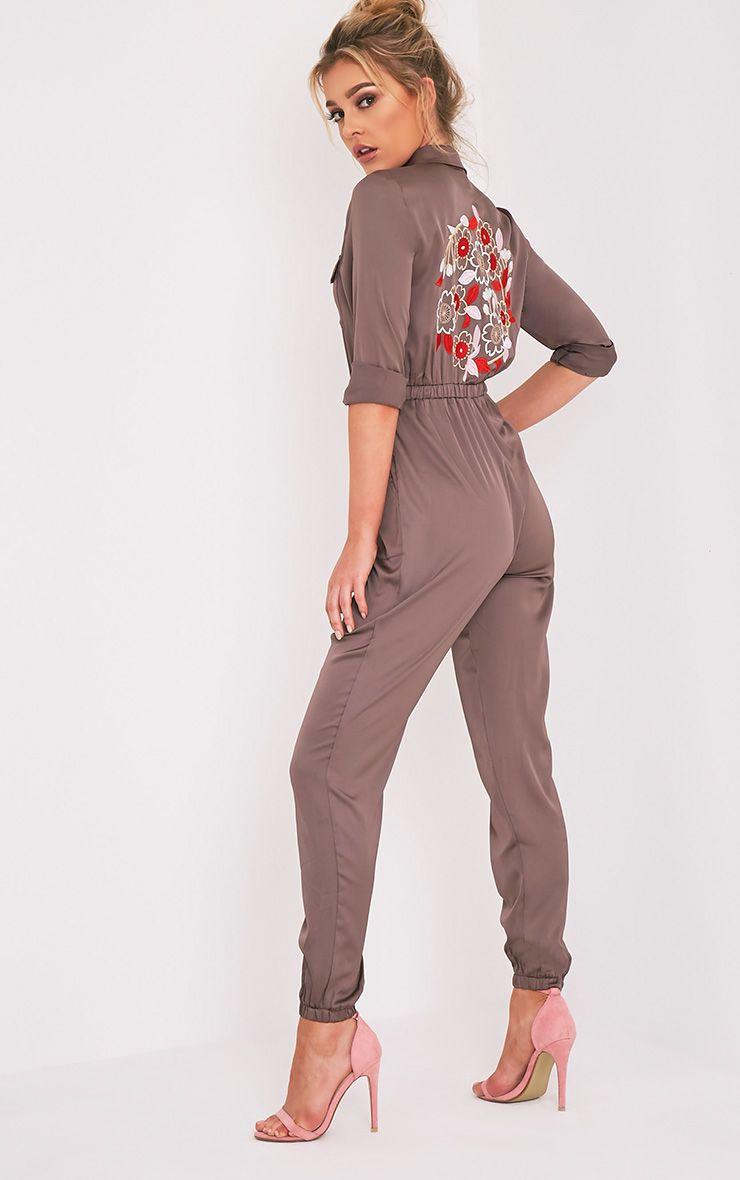 Marlea Mocha Embroidered Detail Silky Jumpsuit 1