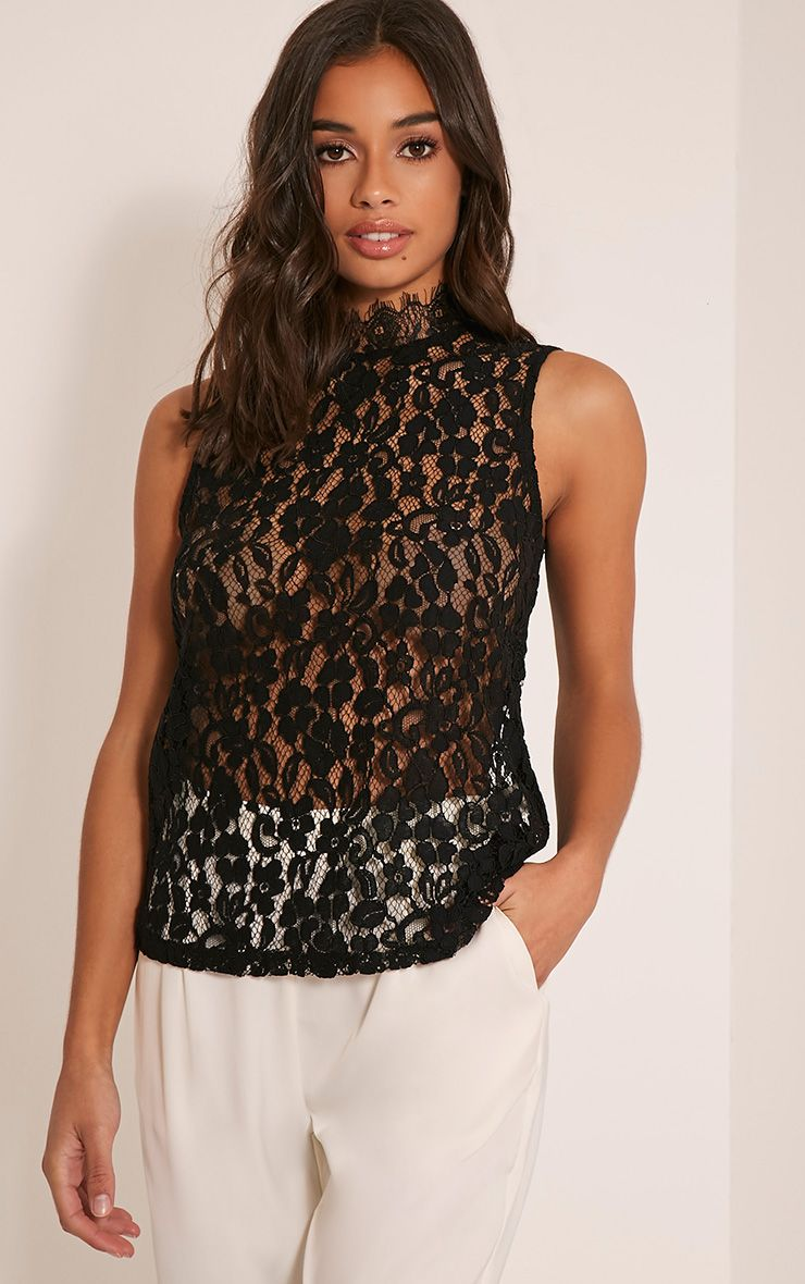 Edith Black Lace Vest Top 1