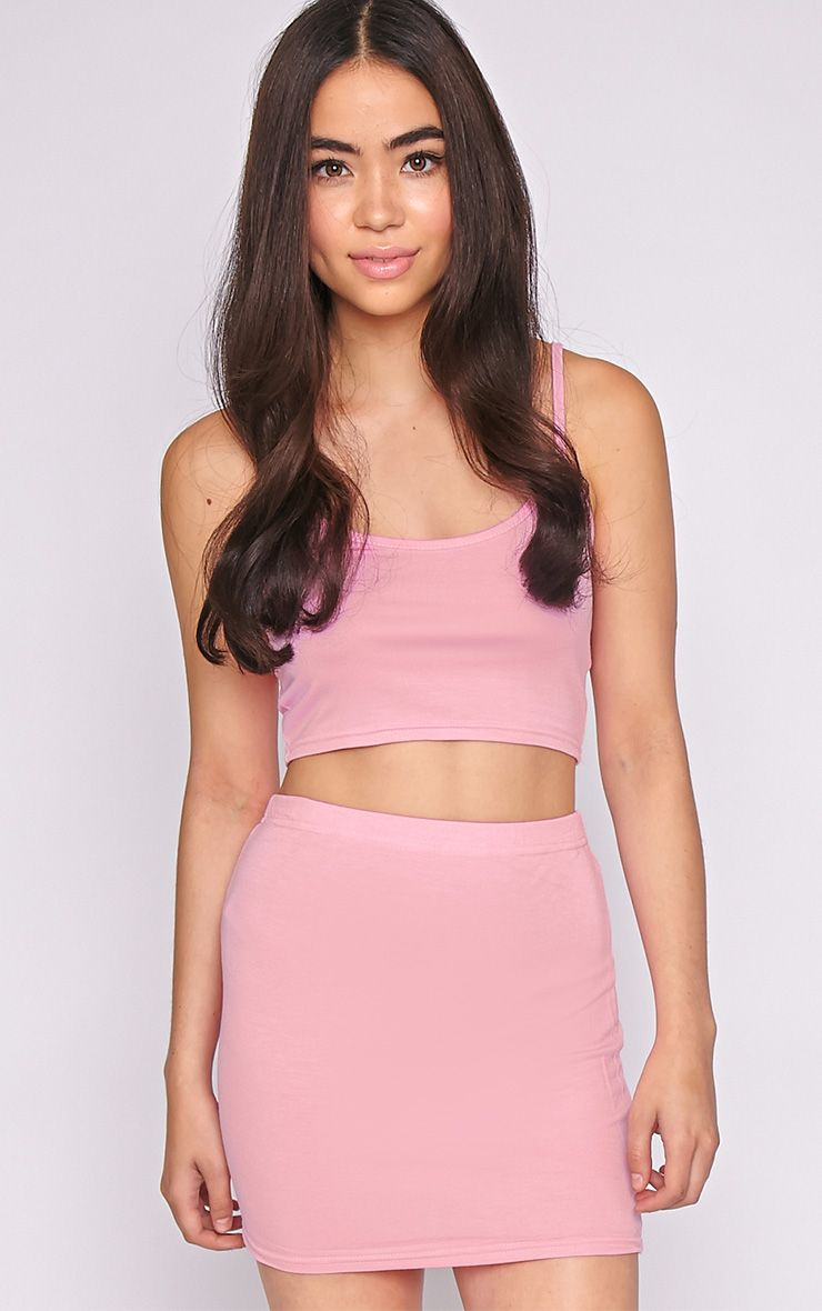 Basic Pink Jersey Mini Skirt 1