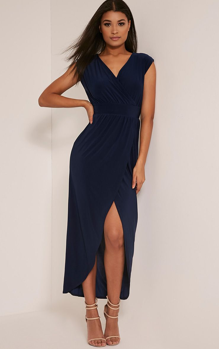 Marlisa Navy Slinky Plunge Maxi Dress