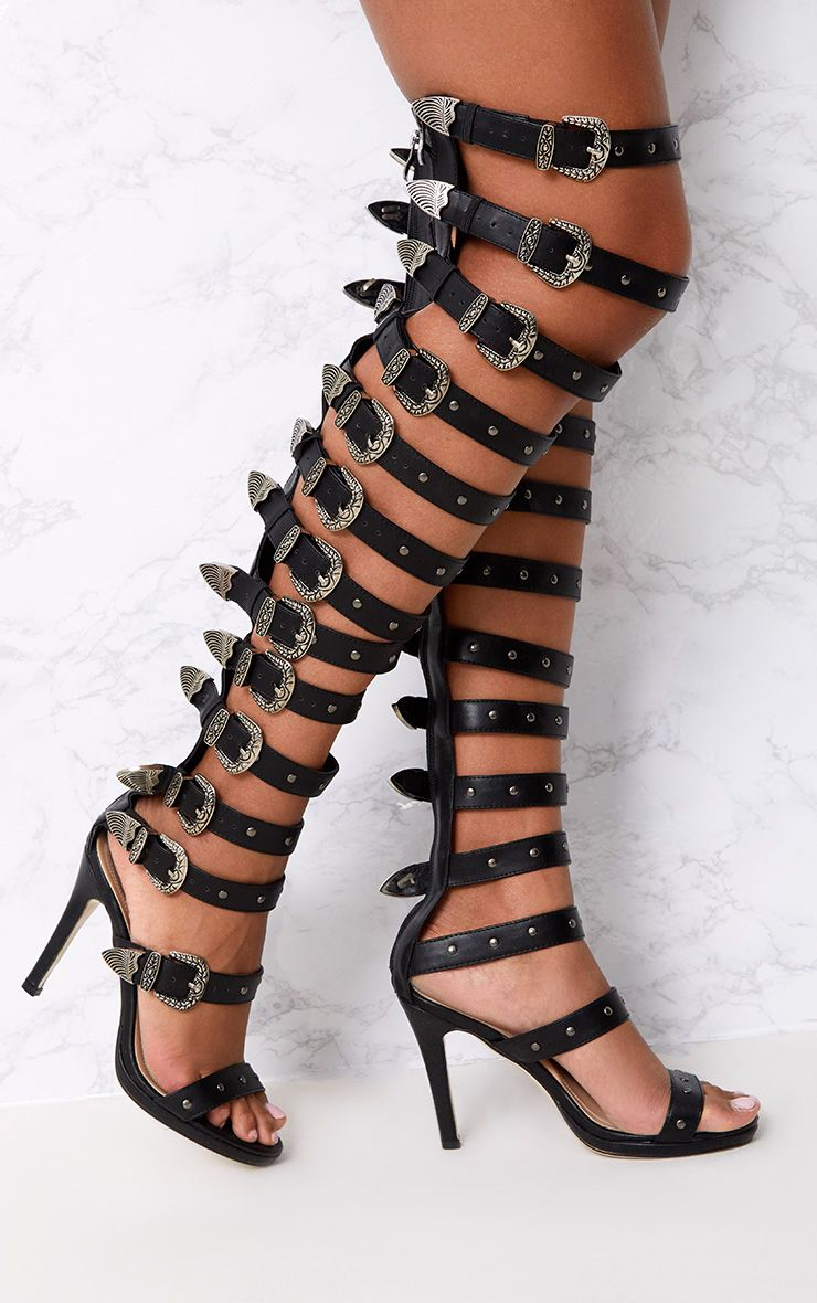 Reese Black PU Buckle Thigh High Heels