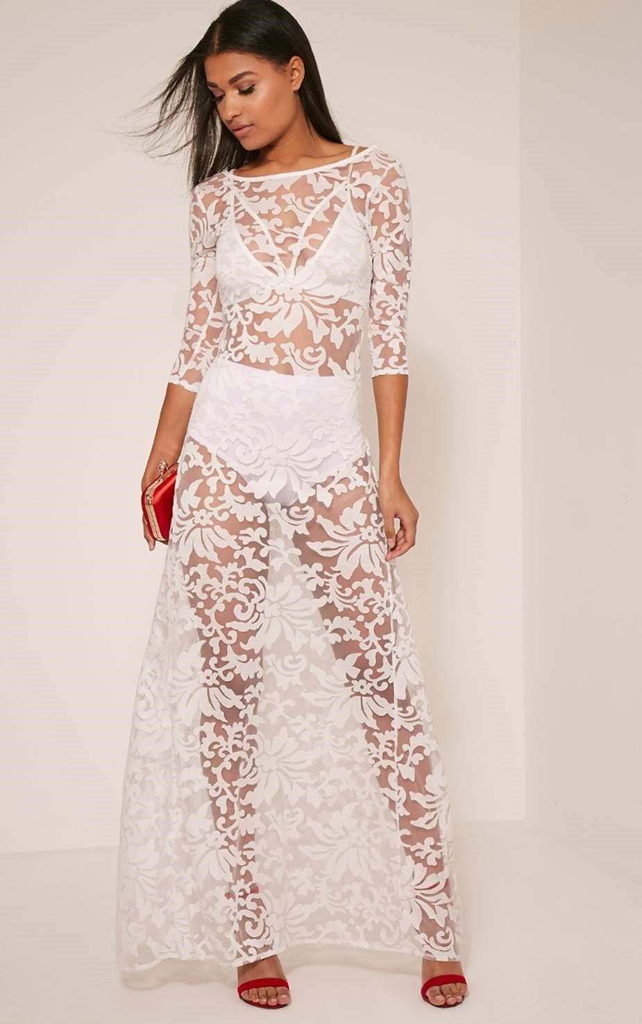 Suzzie White Scoop Back Sheer Floral Maxi Dress